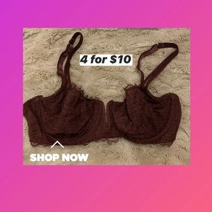 Maroon Lacey Bra